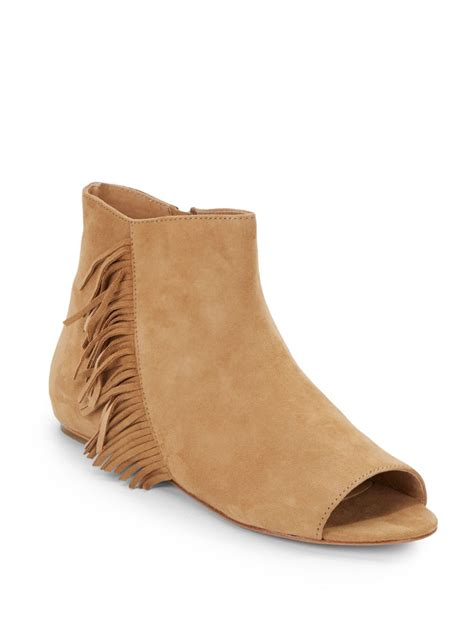 ash nolita fringed suede peep toe ankle boots in