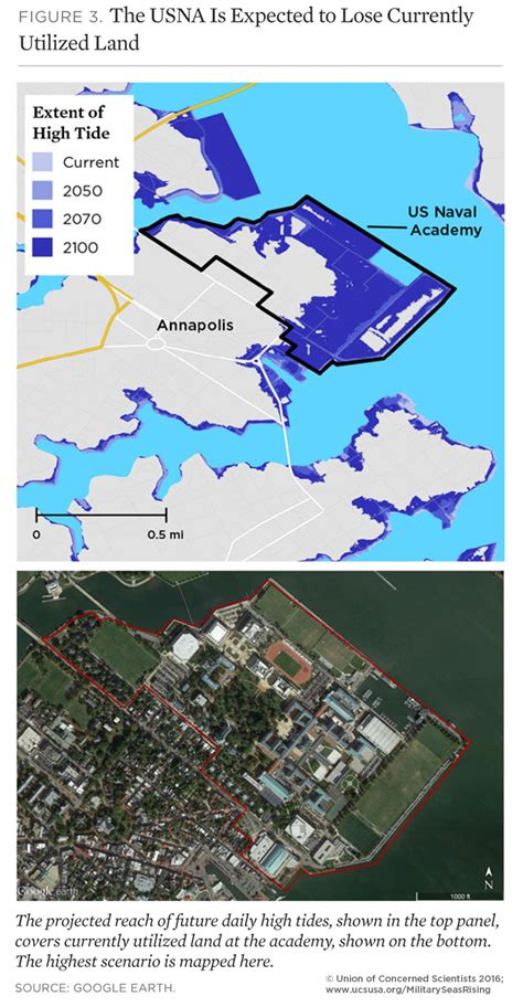 map us naval academy on the front lines of rising seas us naval academy