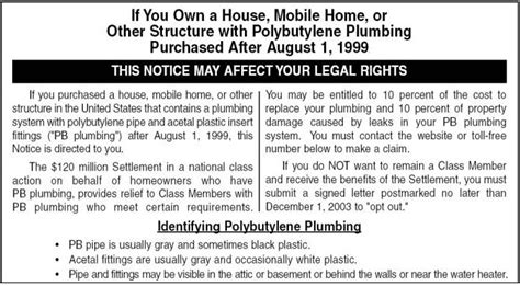 Polybutylene Plumbing Class Lawsuit by Installation Specifications Inspection Testing Plastic
