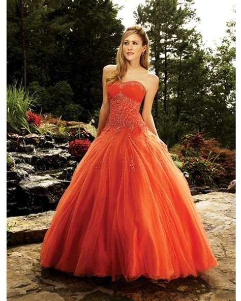 Orange Ball Gown Strapless Lace up Floor Length
