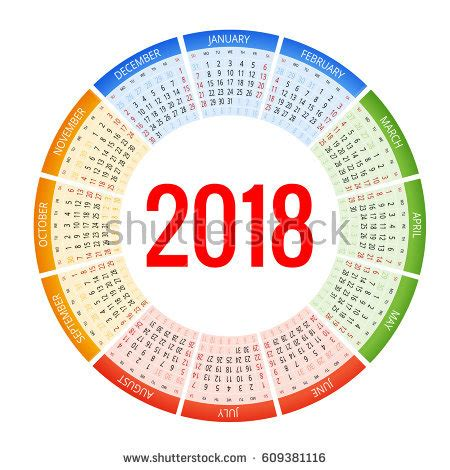 circular calendar template 2018 calendar stock images royalty free images vectors