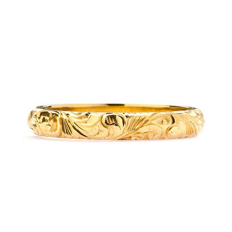 fairtrade 18ct gold engraved wedding ring 3mm by arabel
