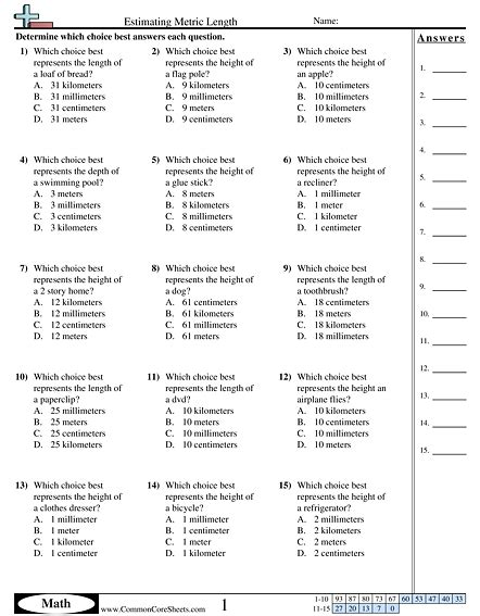Measurement Worksheets | Free - CommonCoreSheets