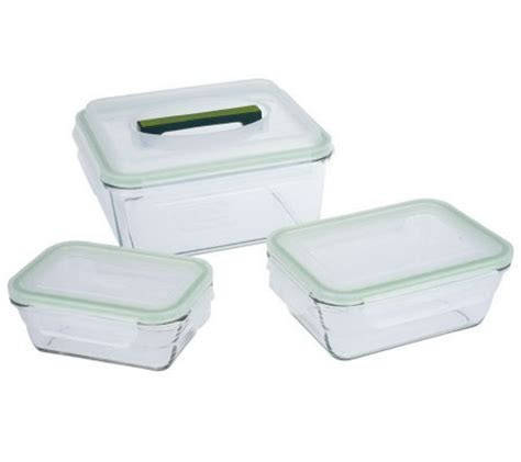 prepology set of 3 glass storage containers with locking - Glass Storage Containers With Locking Lids
