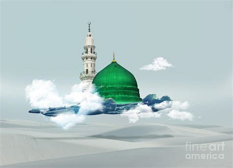 medina munawara mosque dgital art saudi arabia green