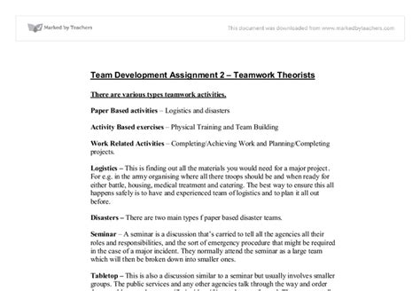 Teamwork Essay Exles by Teamwork Sle Essay