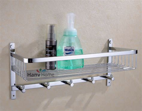 stainless steel bathroom shelves bathroom stainless steel shower shelf caddy basket storage with robe hook ebay
