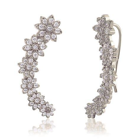 ear climber earrings gaia sterling silver stone set flower ear climber earrings