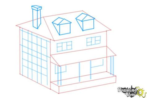 how to draw a house how to draw a house two story house drawingnow