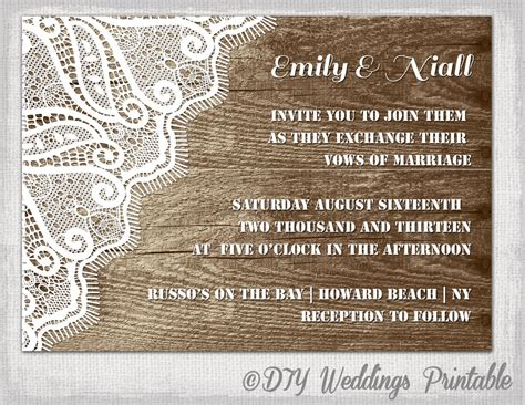 free templates for rustic invitations rustic wedding invitation template wood lace
