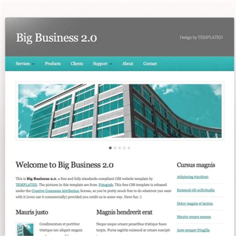 10 free html website templates for business big business 20 free website templates in css html js