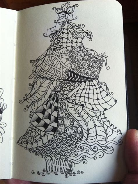 zentangle pattern growth zentangle christmas trees and trees on pinterest