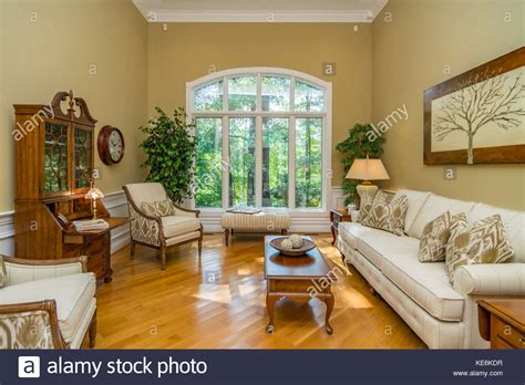 living room interior of middle class american home in