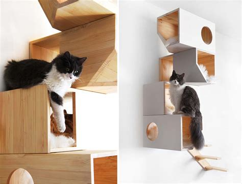 stylish cat tree catissa cat tree doubles as stylish wall 6sqft