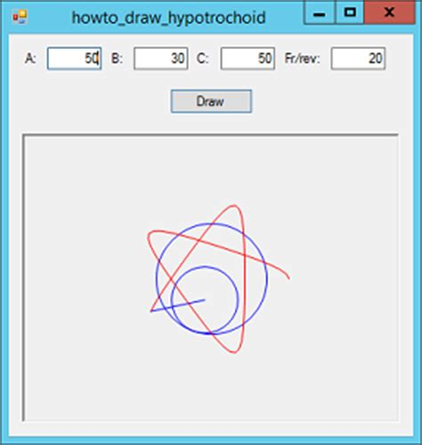 Drawing C Sharp by Draw An Animated Hypotrochoid Spirograph Curve In C