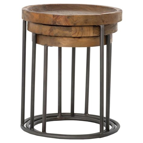 Rustic Nesting Tables by Loup Rustic Loft Reclaimed Iron Nesting Table Set Of 3