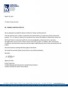 Reference Letter For Of Reference Letters Tambro Construction