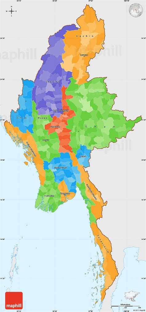political map of myanmar political simple map of burma single color outside
