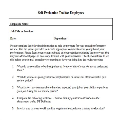 Self Appraisal Template by Annual Performance Review Employee Self Evaluation