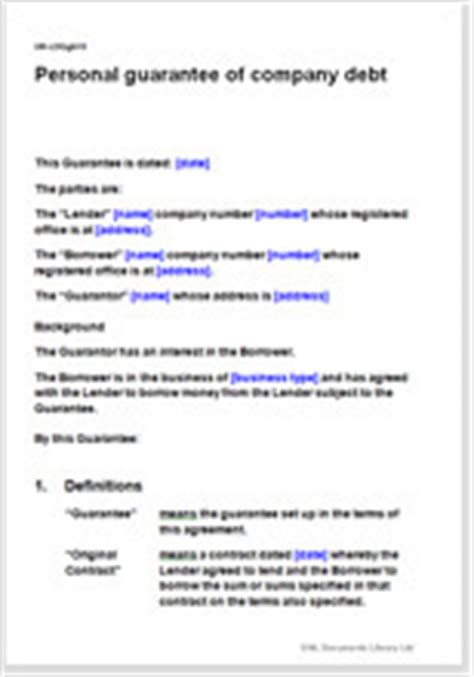 personal guarantee of company debt template