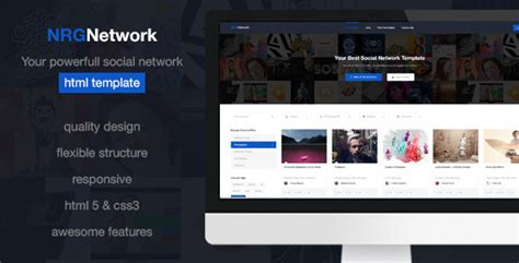 Nrgnetwork Your Powerful Social Network Template Free Download Free After Effects Template Social Network Website Design Template