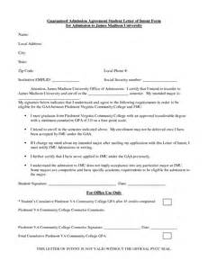 College Admission Letter Of Intent Sle College Admission Letter