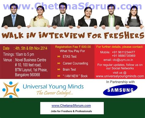 Walk In In Bangalore For Mba Freshers by Freshers Walk In Uym Infotech 2012 2013 2014