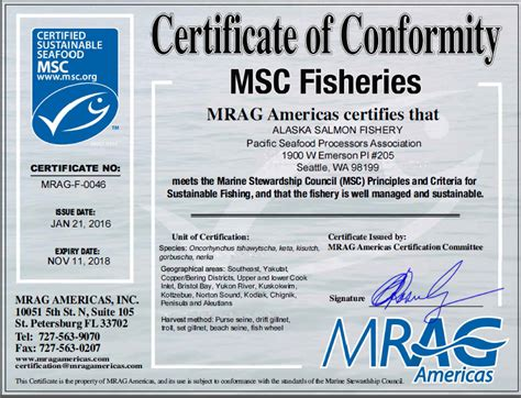 msc alaska salmon certificate finalized   exceptions