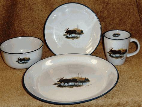 black pattern dinner set landscape moose dinnerware set 16 pcs
