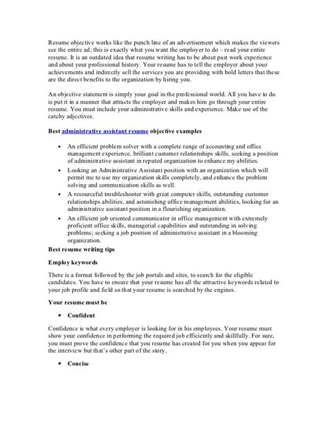 assistant resume objective best administrative assistant resume objective article1