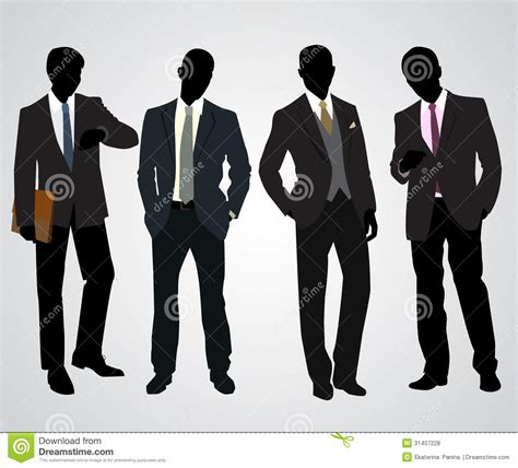 royalty free stock vector illustration models picture four businessman silhouettes royalty free stock photos image 31407228