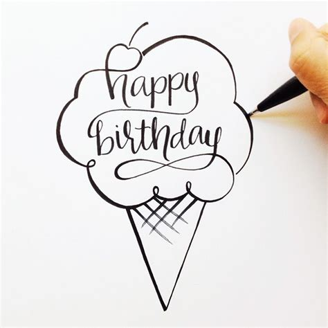 Happy Birthday Wishes In Different Fonts Hand Lettered Happy Birthday Sketch Pinteres