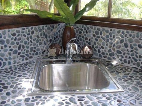 pebble mosaic counter backsplash home
