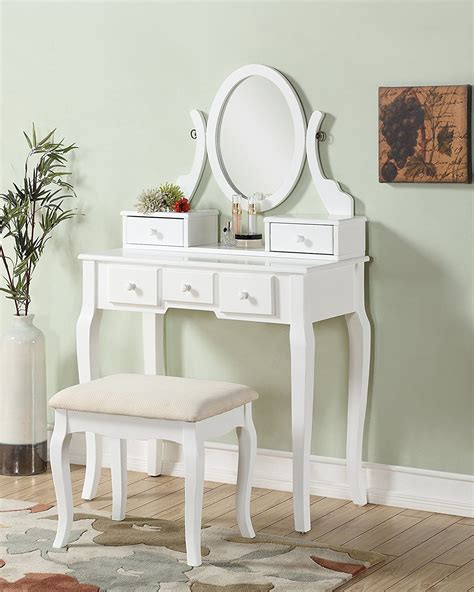 Bedroom Commode Chair Ashley Wood Make Up Vanity Table And Stool Set White And