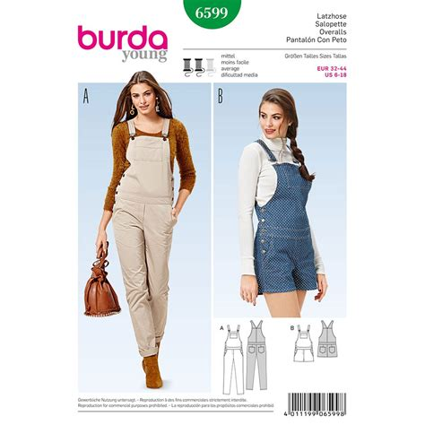 sewing pattern overalls misses overalls burda sewing pattern 6599 sew essential