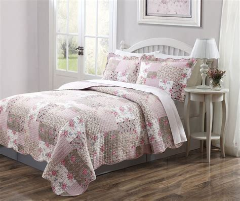 pink coverlet full 3 pcs quilt bedspread dusty pink patchwork floral design