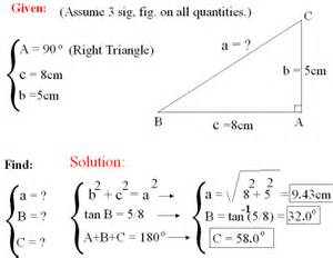 example trig to solve the sides and angles of a right