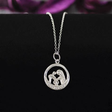 sterling silver and child pendant necklace with 6