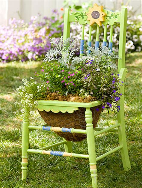 garden planter ideas garden chair planters decorating ideas