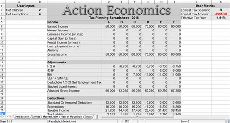 Tax Planning Spreadsheet by Reduce Taxes Economics