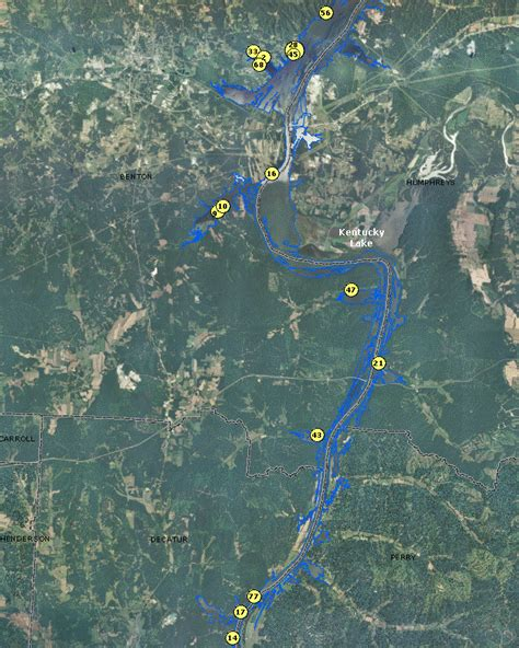 kentucky lake map tennessee localwaters kentucky lake maps boat rs tn