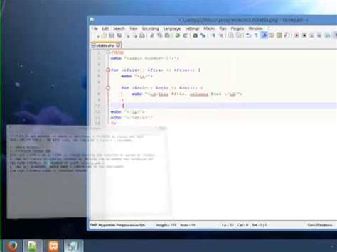 tutorial youtube php tutorial php y notepad para crear una tabla filas y