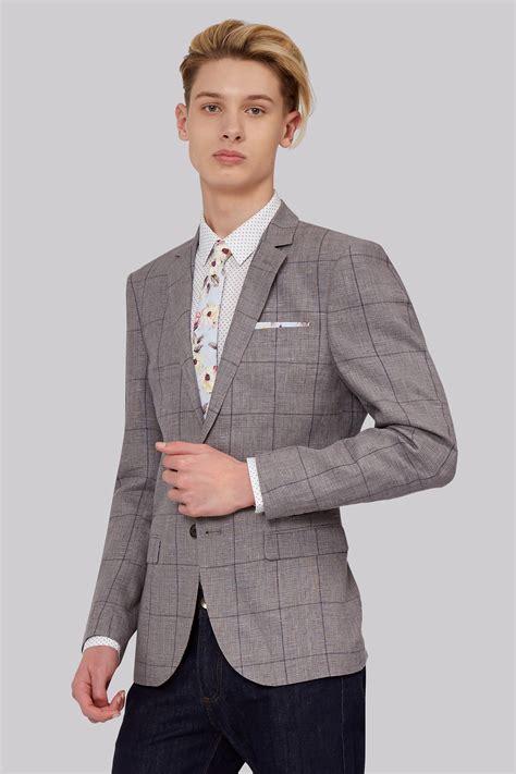Jaket 2 In 1 Dc Light Gray moss slim fit light grey linen check jacket