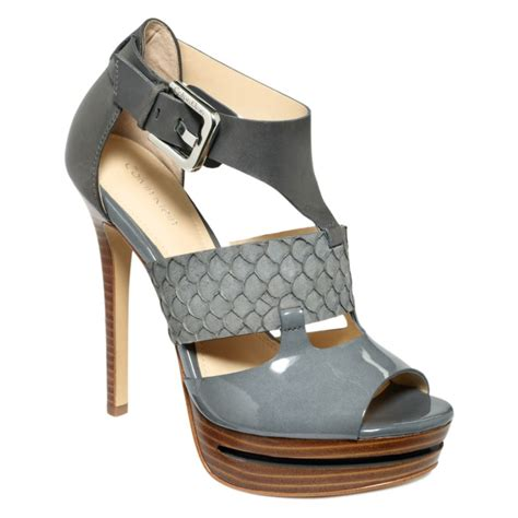 klein sandals calvin klein roxana high heel sandals in gray lyst