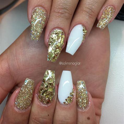 nail glitter flakes gold glitter gold flakes white coffin nails nail