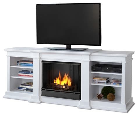 Modern Gel Fireplace by Fresno White Entertainment Unit And Gel Fuel Fireplace