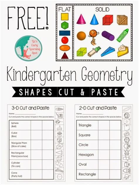 kindergarten geometry 2d and 3d shapes cut and paste
