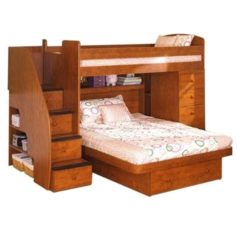 bunk beds twin over full wood sierra wood twin over full loft bed 22 816 xx
