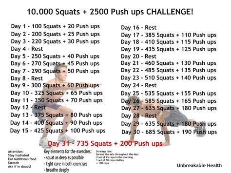 30 day push up and sit up challenge 31 day squat push up challenge unbreakable health