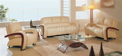 Beige Living Room Sets Beige Leather Living Room Set With Wooden Accents
